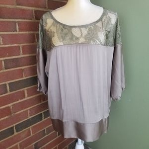 C. Luce Cotton Rayon blend Blouse Top is Lace SZ L
